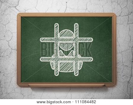 Law concept: Criminal Freed on chalkboard background