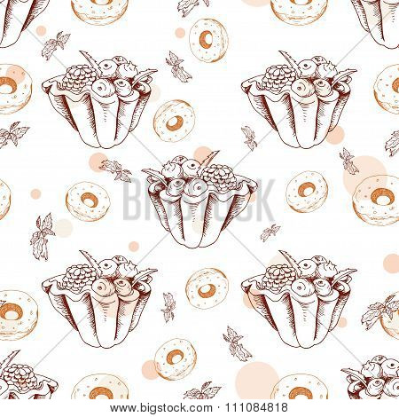 Dessert Seamless Pattern. Sweet Background In Hand Drawn Style. Wallpaper With Tart, Donut. Vector I