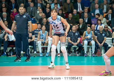 MOSCOW RUSSIA - DECEMBER 2, 2015: Antonella Del Kore (Dynamo (KZN) 15 while playing on women's Rissian volleyball Championship game Dynamo (MSC) vs Dynamo (KZN) at the Luzhniki stadium in Moscow Russia. Kazan won in serie 3: 2
