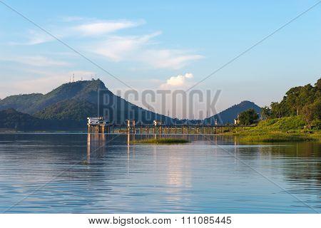 Beautiful lake view at Bang-Pra lake in morning, Thailand.