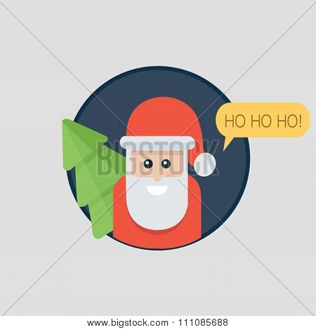 Santa Claus Ho Ho Ho. Christmas Card With Santa Holding Christmas Tree