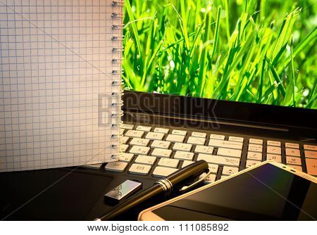 Office Workplace With Notebook, Smart Phone, Pen, Flash Drive And Wordpad With Green Grass Backgroun