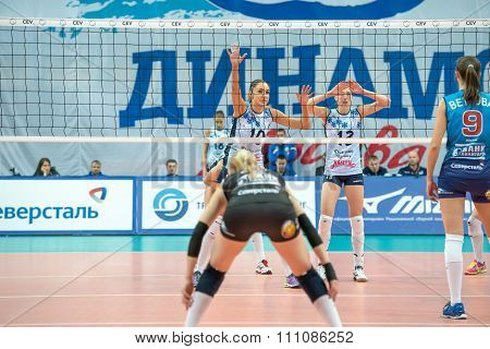 Unidentified Players In Action During The Game On Women's Rissian Volle