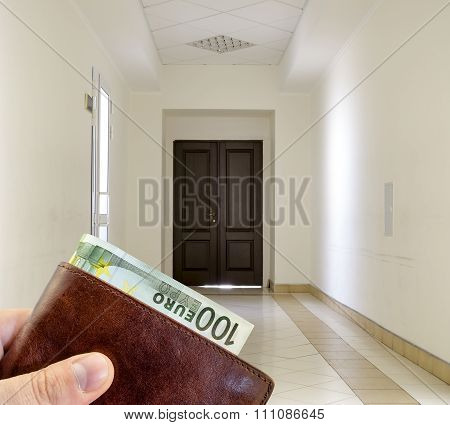 Giving Bribe From Brown Leather Wallet With One Hundred Euro In White Hallway With Marble Floor And