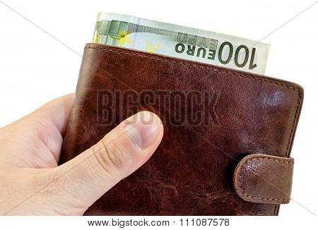 Giving Bribe From Brown Leather Wallet With One Hundred Euro Isolated On White