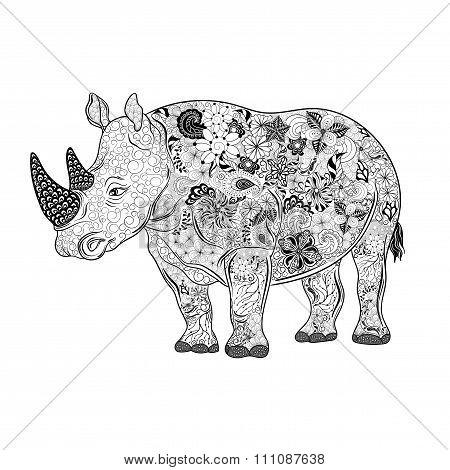 Rhinoceros  Doodle Illustration
