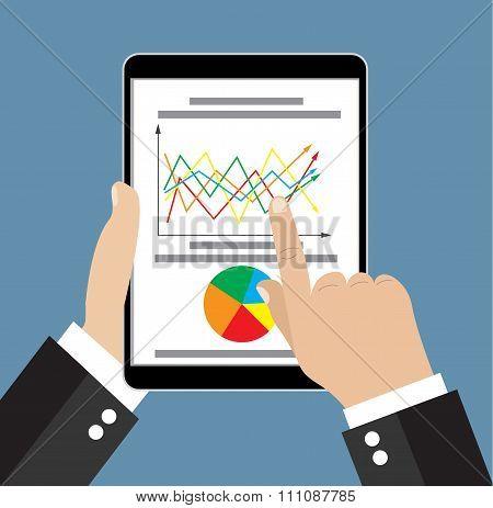 Businessman hand holding tablet
