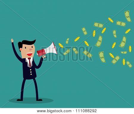 Cartoon businessman holding a megaphone