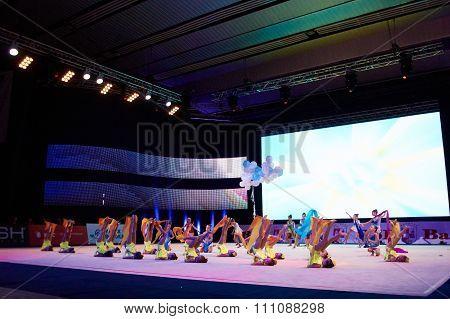 Minsk, Belarus December 05: Unidentified Gymnast From ' Ranak' Participate With 'rainbow