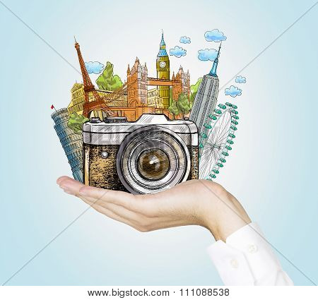 Famous World Landmarks In Hand, Photo,