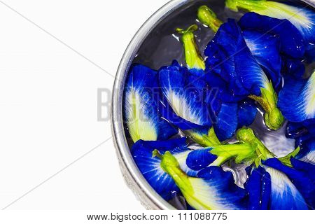 A Lot Of Butterfly Pea Or Blue Pea Flower On Water In The Silver Bowl