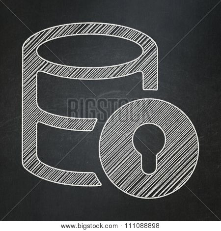 Programming concept: Database With Lock on chalkboard background