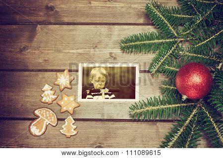Old Christmas Photo Of Angry Boy