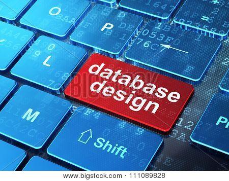Software concept: Database Design on computer keyboard background