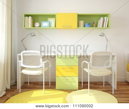 Home Office Interior. 3d rendering.