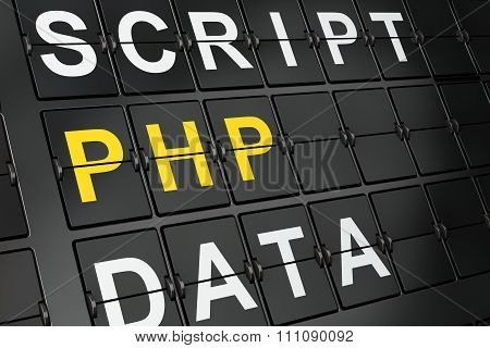 Software concept: Php on airport board background