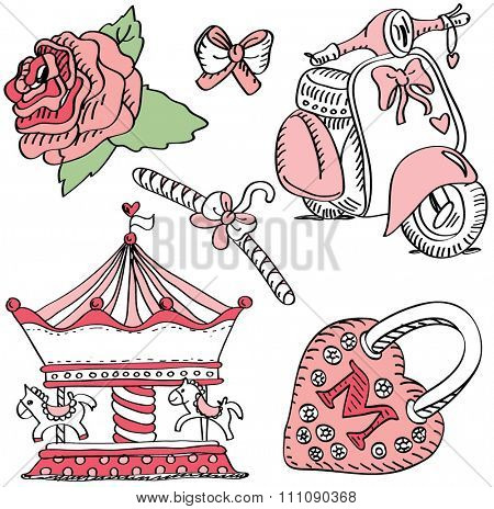 Pink labels for girls: merry-go-round, bike, lock, flower and bow.