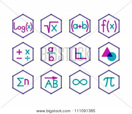 Set of 12 math icons.