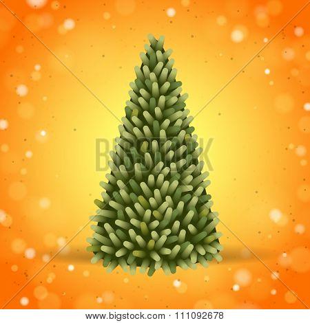 Green Christmas tree on orange background
