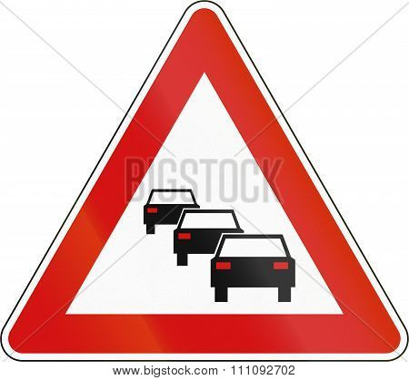 Slovenian Road Warning Sign - Queues Likely