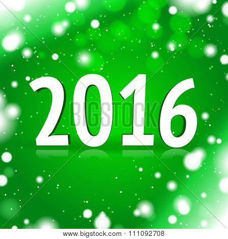 2016 sign with green background with snowflakes