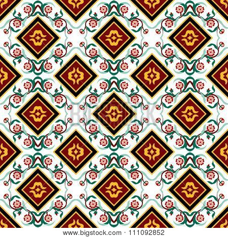 Seamless background image of vintage flower vine square kaleidoscope pattern.