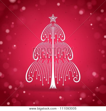Abstract thin Christmas tree silhouette on the red bright background