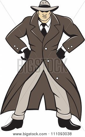 Detective Trenchcoat Hands Akimbo Cartoon