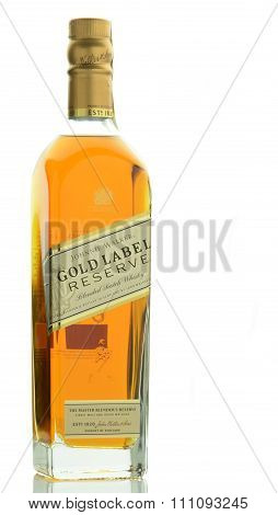 Johnnie Walker Gold Label blended whisky isolated on white background.