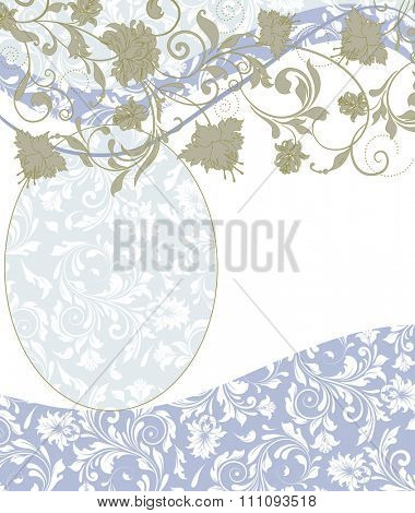 Vintage invitation card with ornate elegant retro abstract floral design, greenish gray and white flowers and leaves on faded green on pale blue and white background. Vector illustration.