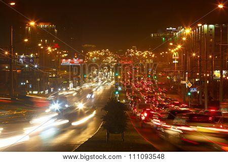 Minsk, Belarus - October 15 2015: Evening road traffic in Minsk