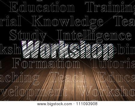 Learning concept: Workshop in grunge dark room