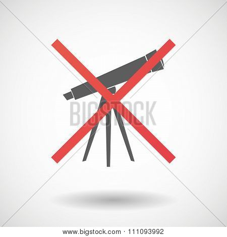 Not Allowed Icon With A Telescope