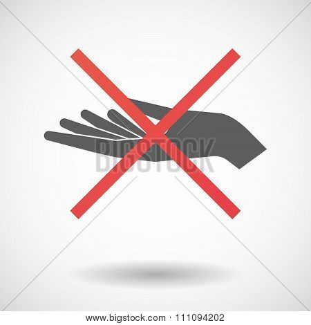 Not Allowed Icon With A Hand Offering