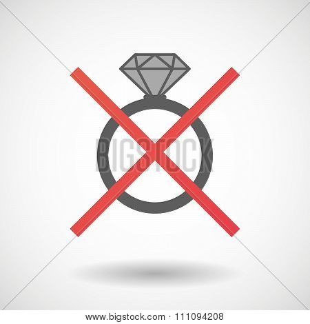 Not Allowed Icon With An Engagement Ring