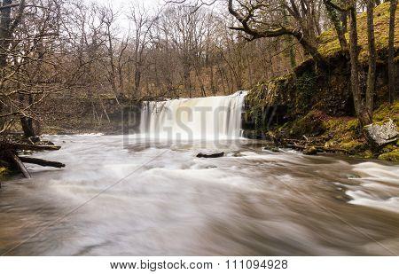 Sgwd Ddwli Uchaf Waterfall. On The River Nedd Fechan South Wales, Uk Winter.