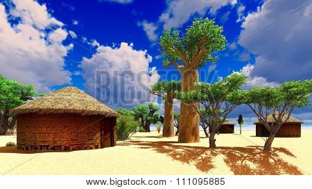 African village with traditional huts surrounded by baobab trees