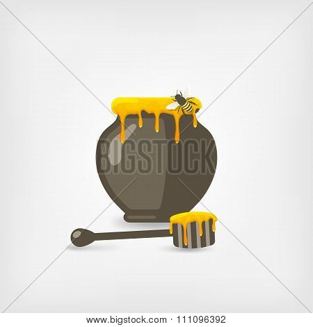 honey pot with bee and wooden dipper