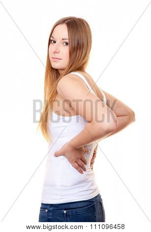 Attractive young woman suffers from backache. All on white background.