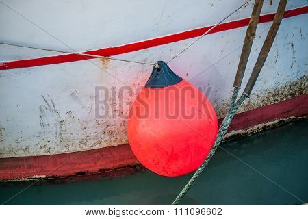 Orange Buoy On A Fishing Boat