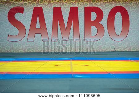 RUSSIA MOSCOW - MARCH 27: Stadium Druzhba in wide angle view just before The World Sambo Championship Kharlampiev memorial in Luzhniki sport palace Moscow Russia 2015