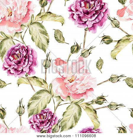 Watercolor pattern with flowers, peonies and roses, buds and petals.