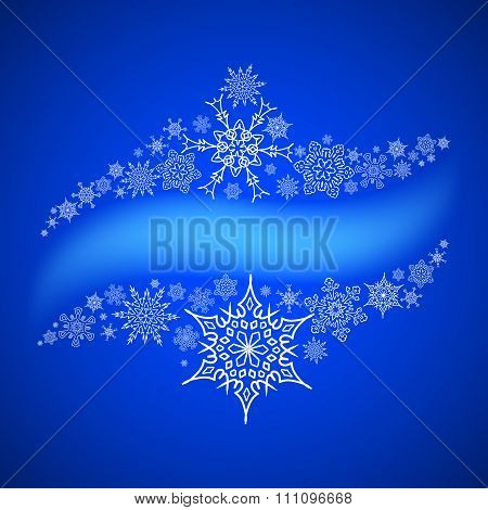 Christmas frame with drawn snowflakes lines