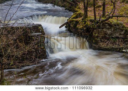 Sgwd Y Bedol Waterfall. On The River Nedd Fechan South Wales, Uk Winter