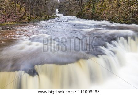 Close Up Of Sgwd Y Bedol Waterfall. On The River Nedd Fechan South Wales, Uk Winter.