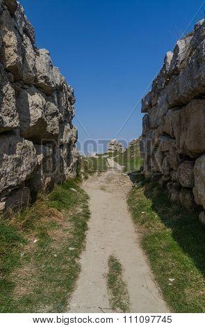 Footpath Running Between Two Limestone Walls.
