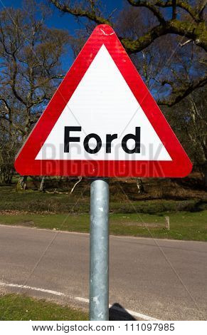 Road Warning Sign, Ford.