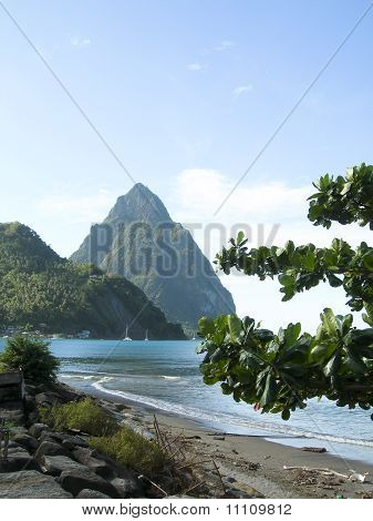 Caribbean Sea View Twin Piton Peaks  Volcano Mountains  Soufriere St. Lucia Island West Indies