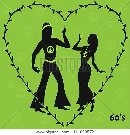 Two Hippie Dancers,retro Illustration Of Sixties