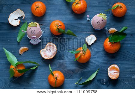 Mandarin Orange Fruit Typical Of Winter With 2 Nice Eggs